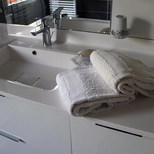 Vasque simple et son meuble de rangement
